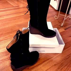Bakers: lace back crepe wedge heel Suede Boots